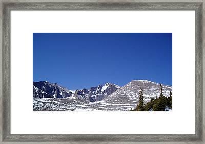 Longs Peak And Blue Sky Framed Print