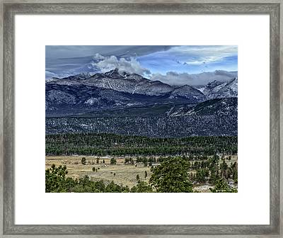 Long's Peak Framed Print by Tom Wilbert