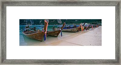Longtail Boats Moored On The Beach Framed Print by Panoramic Images