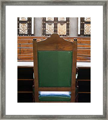 Looking Into Courtroom From Behind Judges Chair Framed Print by Ken Biggs