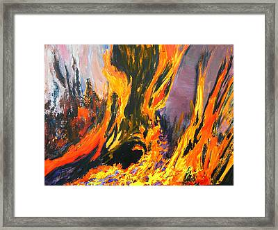 Framed Print featuring the painting Looks Like Hell by AnnE Dentler