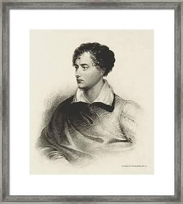 Framed Print featuring the photograph Lord Byron, English Romantic Poet by British Library