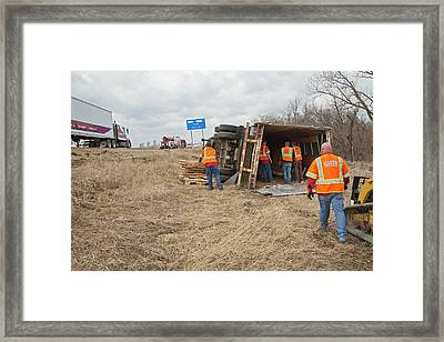 Lorry Accident Cleanup Framed Print by Jim West