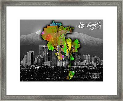 Los Angeles Map And Skyline Watercolor Framed Print