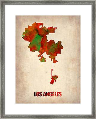 Los Angeles Watercolor Map Framed Print by Naxart Studio
