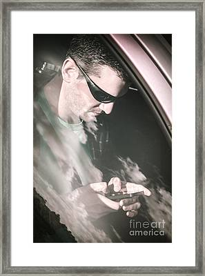 Lost Driver Using Mobile Phone Gps Framed Print by Jorgo Photography - Wall Art Gallery