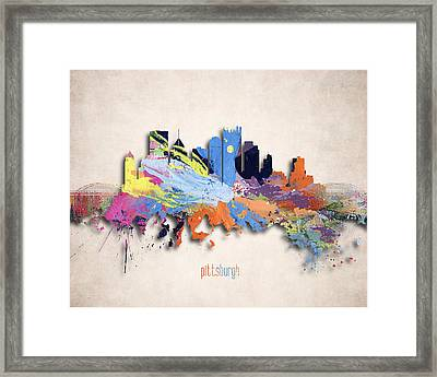 Pittsburgh Painted City Skyline Framed Print