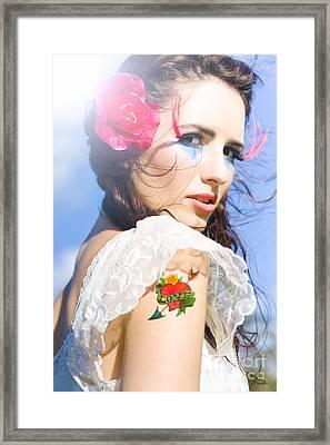 Love Heart And Arrow Tattoo Framed Print by Jorgo Photography - Wall Art Gallery