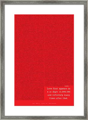 Love In Pi Framed Print