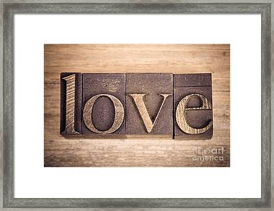 Love In Printing Blocks Framed Print by Jane Rix