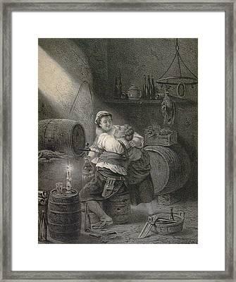Love In The Winecellar, Barrel, Wine, Man, Woman, Male Framed Print by English School