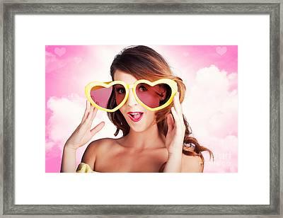 Love Is Blind. Woman Wearing Heart Shape Glasses Framed Print by Jorgo Photography - Wall Art Gallery
