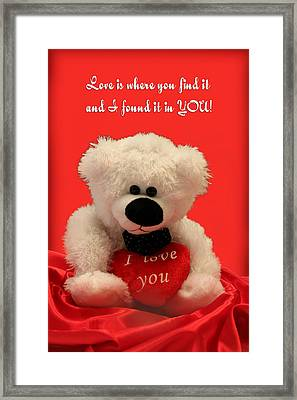 Love Is Where You Find It Framed Print by Linda Phelps
