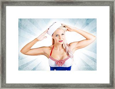 Lovely American Pinup Woman In Military Fashion Framed Print