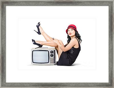 Lovely Asian Pinup Girl Posing On Vintage Tv Set Framed Print