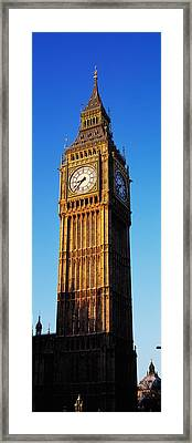 Low Angle View Of A Clock Tower, Big Framed Print by Panoramic Images