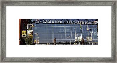 Low Angle View Of A Stadium, Lambeau Framed Print