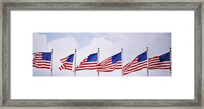 Low Angle View Of American Flags Framed Print