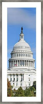 Low Angle View Of Capitol Building Framed Print