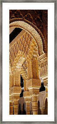 Low Angle View Of Carving On Arches Framed Print