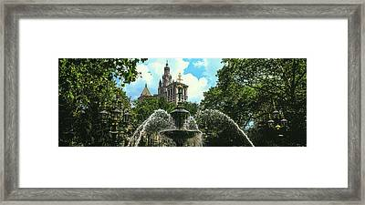 Low Angle View Of Fountain, City Hall Framed Print