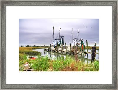 Lowcountry Shrimp Dock Framed Print by Scott Hansen