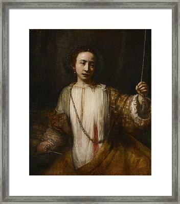 Lucretia Framed Print by Rembrandt van Rijn