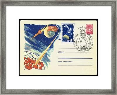 Luna 3, Soviet Postcard Framed Print by Detlev van Ravenswaay