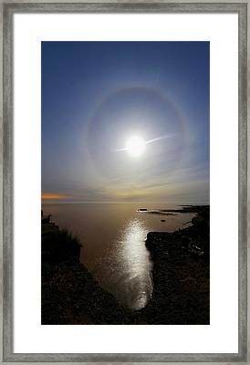 Lunar Halo Over Water Framed Print