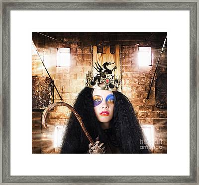Luxury Medieval Queen In Exclusive Gold Crown Framed Print by Jorgo Photography - Wall Art Gallery