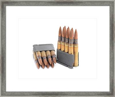 M1 Garand Clips And Ammunition. Framed Print