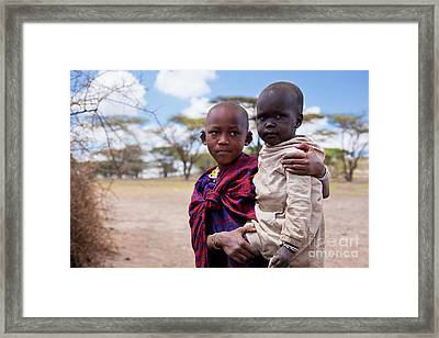 Maasai Children Portrait In Tanzania Framed Print by Michal Bednarek