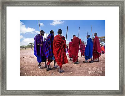 Maasai Men In Their Ritual Dance In Their Village In Tanzania Framed Print by Michal Bednarek