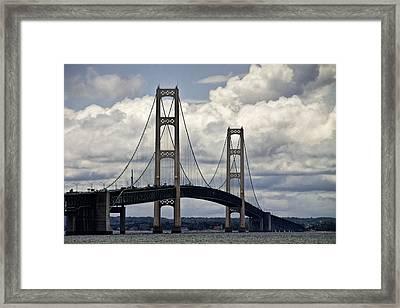 Mackinaw Bridge By The Straits Of Mackinac Framed Print