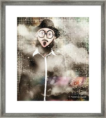 Mad Scientist With Solution To Chemical Reaction  Framed Print