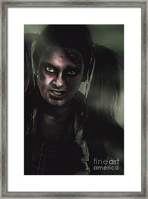 Mad Zombie Schoolgirl In Green Twilight Nightmare Framed Print