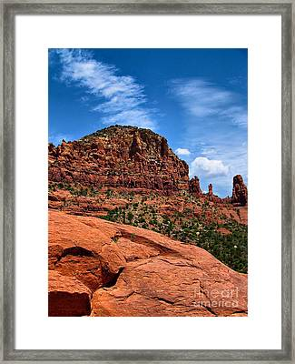 Madonna And Child Two Nuns Rock Formations Sedona Arizona Framed Print by Amy Cicconi