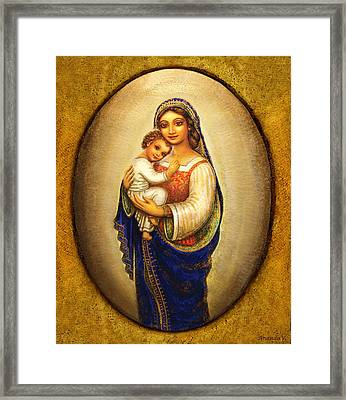 Madonna In A Halo Framed Print by Ananda Vdovic
