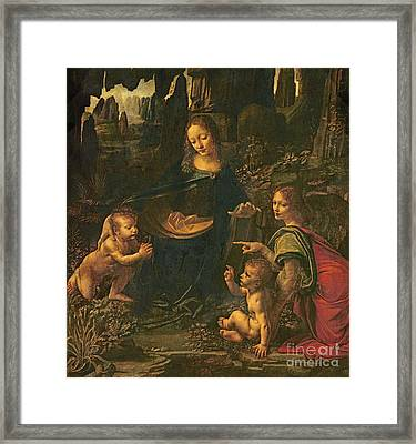Madonna Of The Rocks Framed Print by Leonardo da Vinci