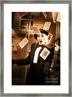Magic Cards Trick Framed Print by Jorgo Photography - Wall Art Gallery