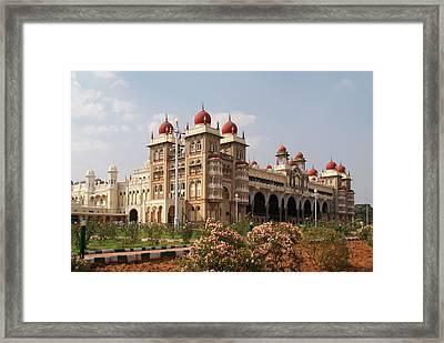 Maharaja's Palace And Garden India Mysore Framed Print