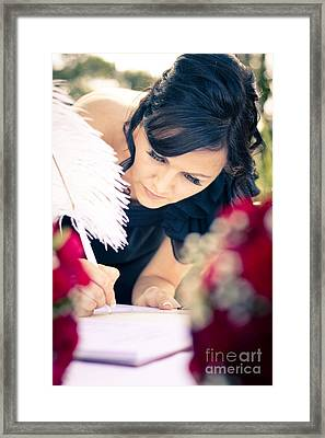 Maid Of Honour Signing Wedding Registar Framed Print by Jorgo Photography - Wall Art Gallery