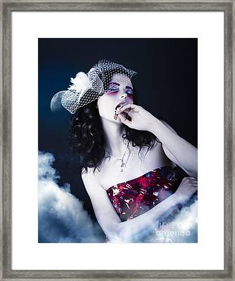 Makeup Beauty With Gothic Hair And Bloody Mouth Framed Print by Jorgo Photography - Wall Art Gallery