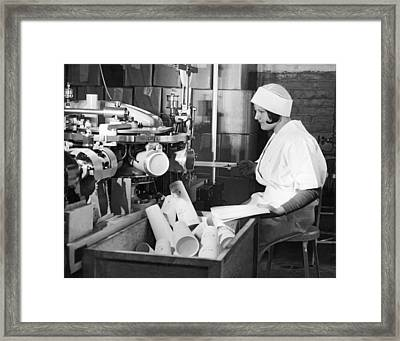 Making Paper Milk Containers Framed Print