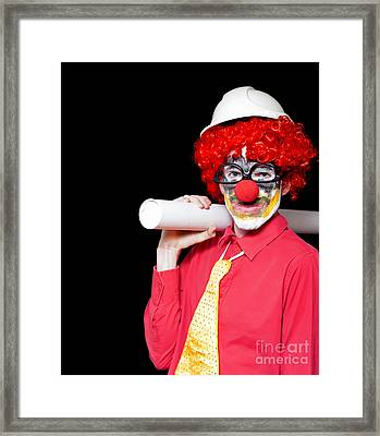 Male Architect Clown Holding Bad Construction Plan Framed Print by Jorgo Photography - Wall Art Gallery