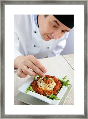 Male Chef In Restaurant Framed Print