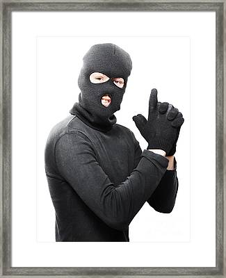 Male Criminal In Mask Making A Hand Gun Gesture Framed Print by Jorgo Photography - Wall Art Gallery