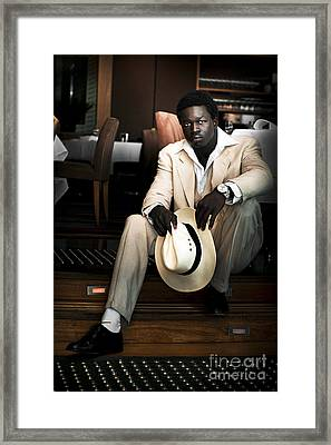 Male Fashion Model In White Suit Framed Print by Jorgo Photography - Wall Art Gallery