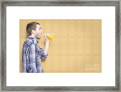 Male Handyman Or Motor Mechanic Talking Trade Tips Framed Print by Jorgo Photography - Wall Art Gallery