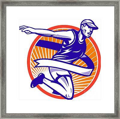 Male Marathon Runner Running Retro Woodcut Framed Print